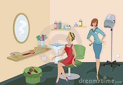 Beauty salon client in red dress