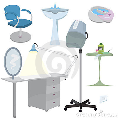 Beauty salon furniture  icon set