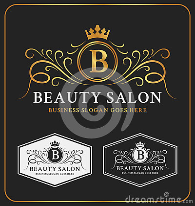 Free Beauty Salon Heraldic Crest Logo Template Royalty Free Stock Photo - 58983165