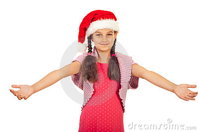 Beauty Santa girl with open arms