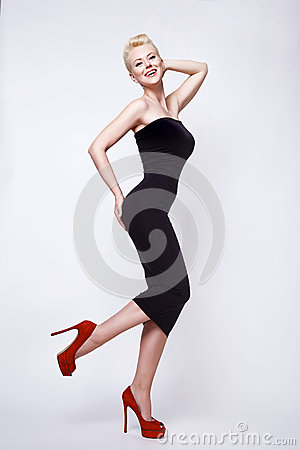 Free Beauty Sexy Blond Woman In Skinny Black Dress Pinup Perfect Body Stock Images - 51017364