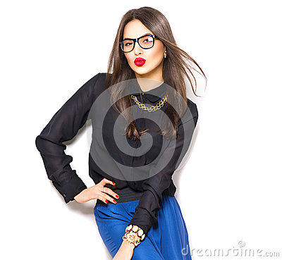 Free Beauty Sexy Fashion Model Girl Wearing Glasses Stock Photos - 66696833