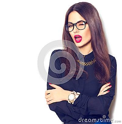 Free Beauty Sexy Fashion Model Girl Wearing Glasses Stock Photography - 68941132