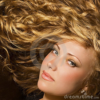 Beauty with shiny golden hair