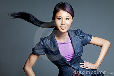 Beauty shot of Asian fashion model
