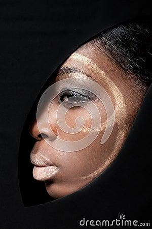 Beauty shot of a black fashion model