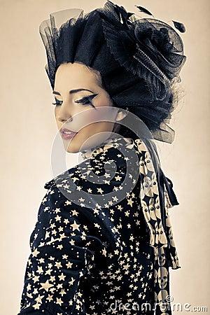 Beauty shot of model styled Japanese