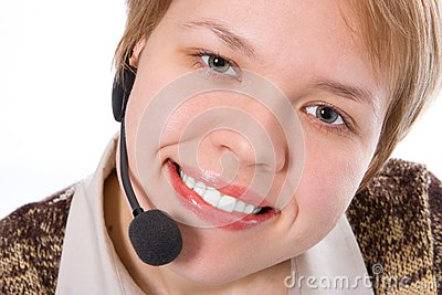 Beauty smile girl operator with headphones