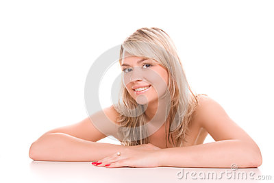 Beauty smiling woman portrait isolated on white