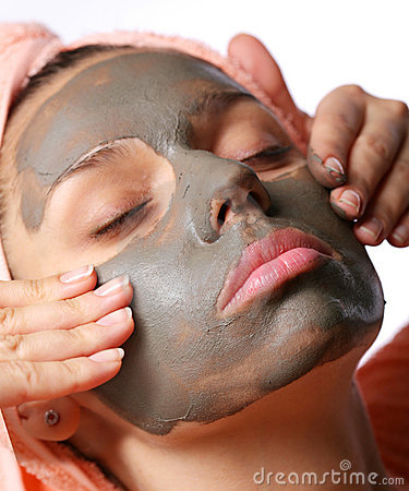 Beauty-spa. Applying of cosmetic mud mask.
