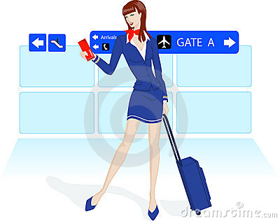 Beauty stewardess at the airport