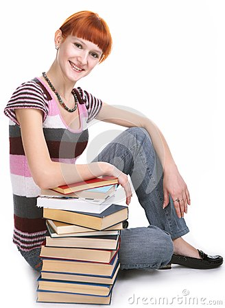 Beauty student girl with book