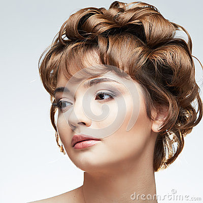 Beauty style close up portrait of young woman  on
