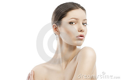 Beauty style face shot, the left shoulder i