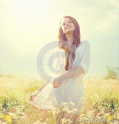 Beauty summer girl outdoor