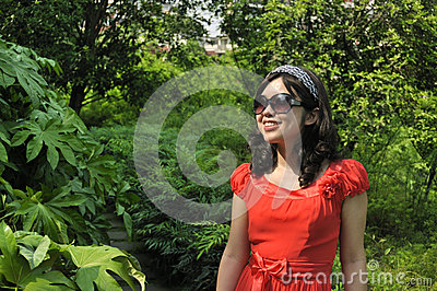 Beauty with sunglasses in nature