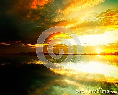 Beauty sunset on the lake