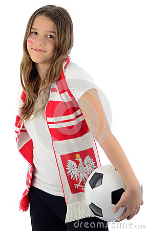 Beauty teenager like a Polish soccer fan