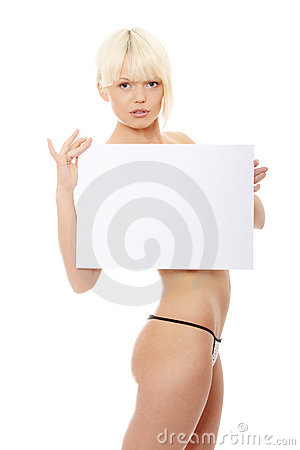 Beauty topless girl holding blank sign