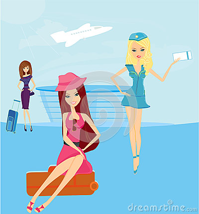 Travel girls in the airport