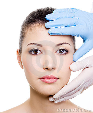 Beauty treatment of woman face