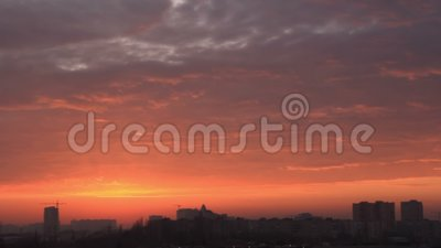 Beauty twilight over town stock footage