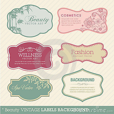 Free Beauty Vintage Labels Background Stock Image - 20857201
