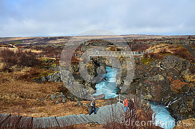 Beauty waterfall Hraunfossar on the Iceland Editorial Stock Photo