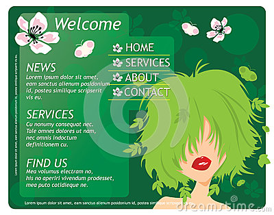 Beauty website template with beautiful girl
