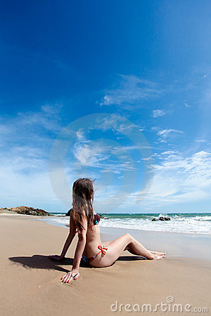 Beauty woman and amazing sand beach