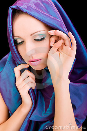 Beauty woman blue cloth face makeup studio shot