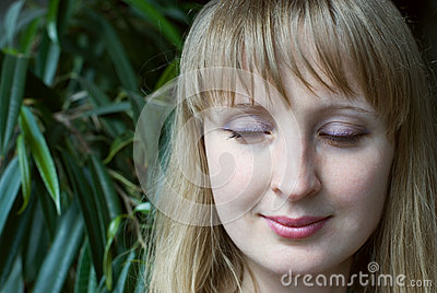 Beauty woman with closed eyes