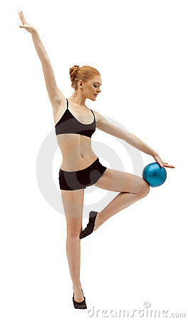 Beauty woman dance with ball in black isolated
