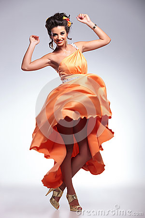 Free Beauty Woman Dancing With Her Dress In The Air Stock Images - 33658354