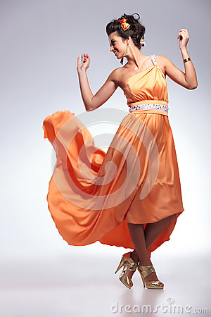 Beauty Woman With Dress Flying Stock Photo - Image: 33658360