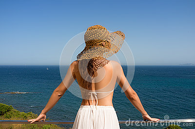 Beauty Woman Enjoying View of Mediterranean Sea. Spain