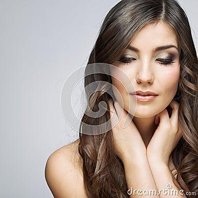 Beauty woman face portrait.  on gray background