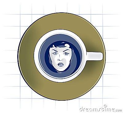 Beauty woman face swiming in coffee