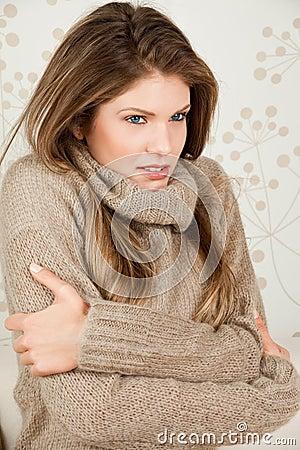Beauty woman feels cold