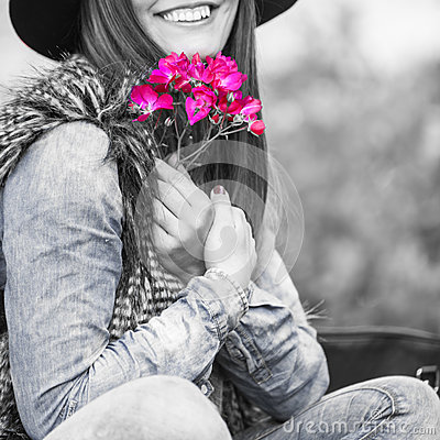 Beauty woman with flowers Stock Photo