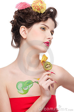 Beauty woman with fruit bodyart and fruit c