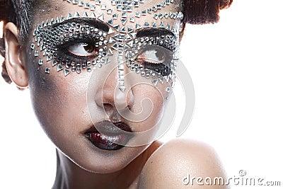 Beauty woman in futuristic makeup