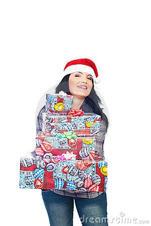 Beauty woman giving X-mas presents