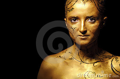 Beauty woman with golden skin