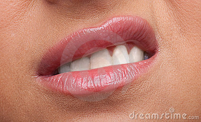 Beauty woman lips anger emotions close-up
