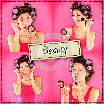 Free Beauty Woman Makeup Concept Collage Series On Pink Stock Photos - 32884913