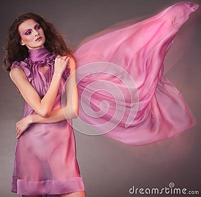 Beauty woman in pink dress