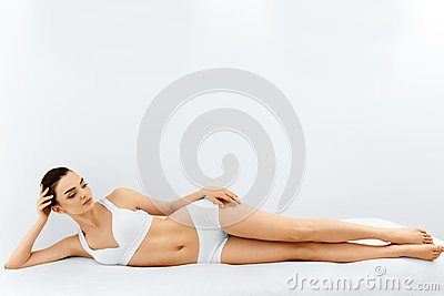 Beauty Woman Portrait. Spa Face, Clean Skin. Body Care Concept. Stock Photo
