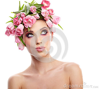 Free Beauty Woman Portrait With Wreath From Flowers On Head Over Whit Stock Photography - 30353352