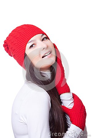 Beauty woman in a red cap